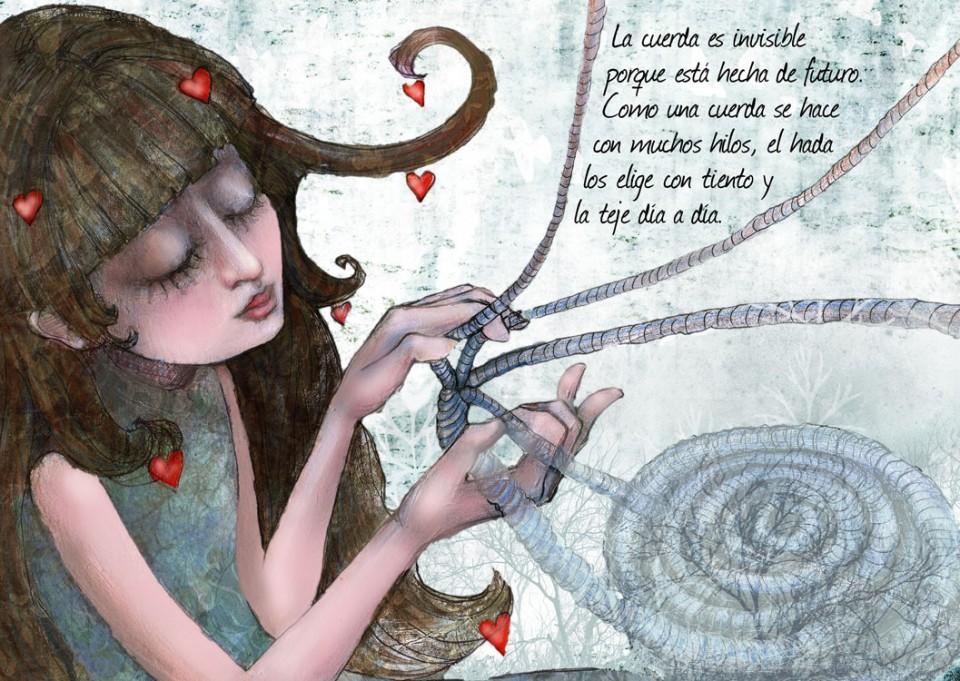 Ejemplo del interior de un libro infantil ilustrado.