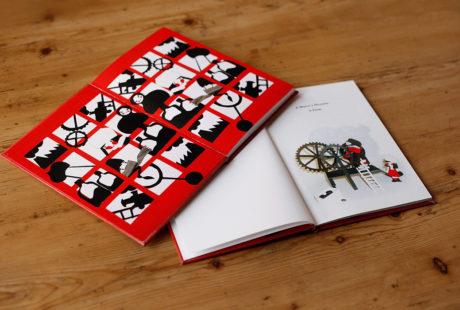 Foto de las guardas impresas de un libro infantil.
