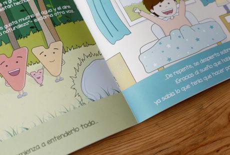 Foto de un libro infantil encuadernados con grapa (por dentro).