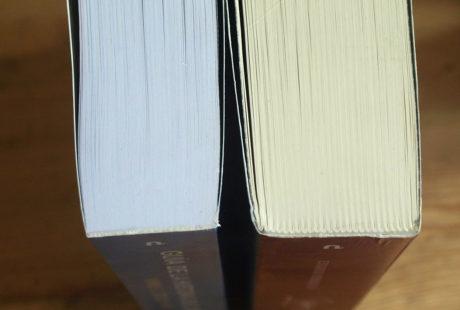 Foto del canto del lomo de dos libros: uno pegado y otro cosido, para apreciar las diferencias.