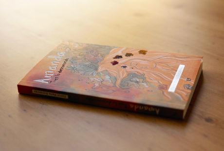 Foto de la portada de un libro con UVI 3D, es decir, zonas plastificadas en brillo que destacan sobre el fondo, que va plastificado en mate.