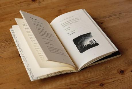 Foto del interior de un libro de poesía con fotos para apreciar la maquetación.