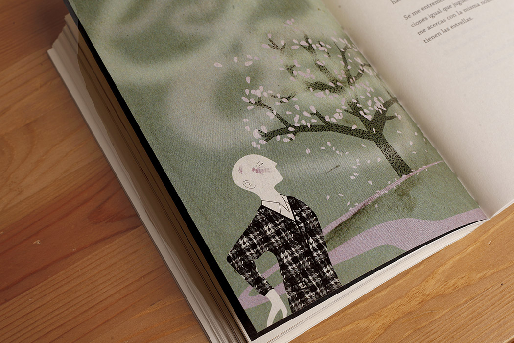 Foto de una ilustración en color en el interior de un libro: hombre calvo con traje frente a un almendro en flor. El papel es ahuesado volumen, algo más grueso de lo habitual.