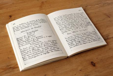 Foto del interior de un libro impreso en papel ahuesado volumen. Es una edición facsímil, manuscrita.