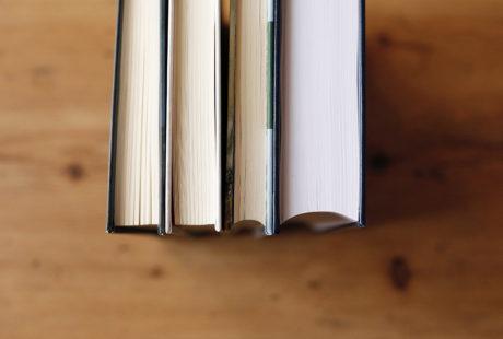 Foto del canto (posterior) de varios libros encuadernados en tapa dura para apreciar la diferencia entre lomo redondo y cuadrado.