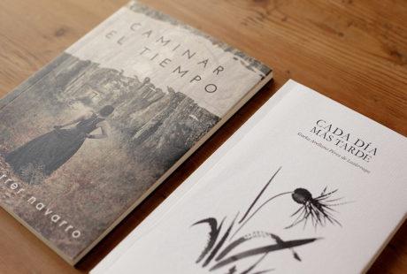 Foto de dos libros con cubierta en verjurado: uno con una foto impresa en la portada y otro con una ilustración.